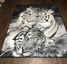 NEW RUG Approx 6x4FT 120x170cm STUNNING Black-Grey Top Quality Tigers Blue Eyes